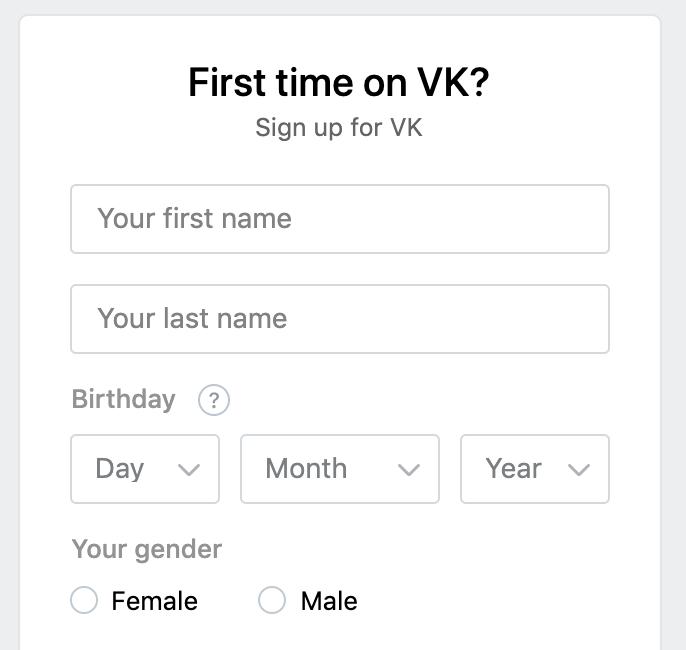 Account registration in VK