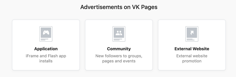 Advertisements on VK pages