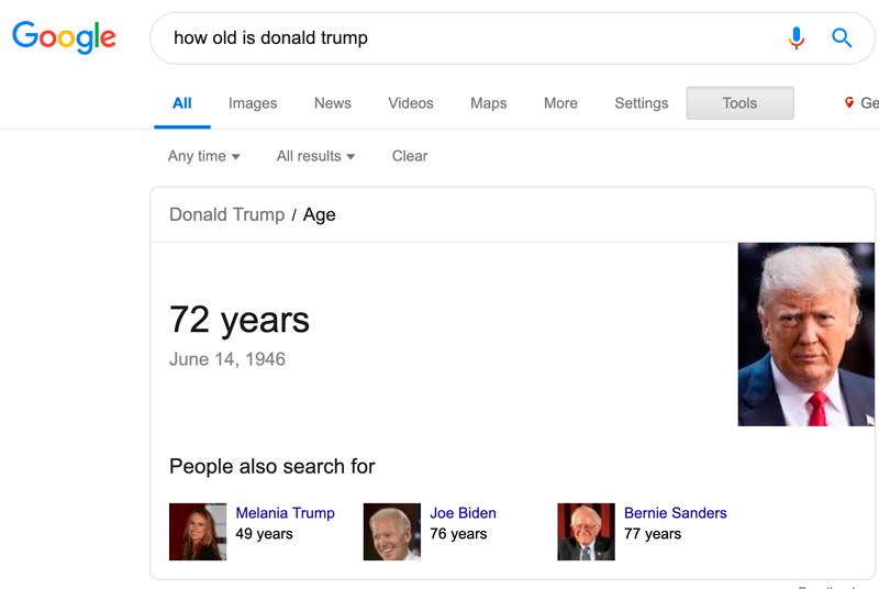 "Search for ""How old is Donald Trump"""