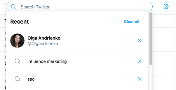 Another useful feature is that Twitter saves all your searches