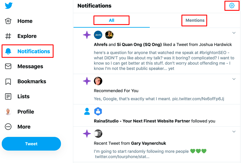 Notifications from your followers