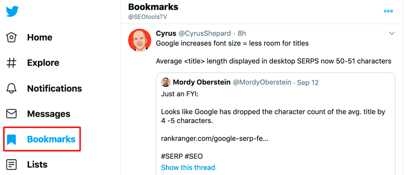 Your tweet will be saved to your bookmarks
