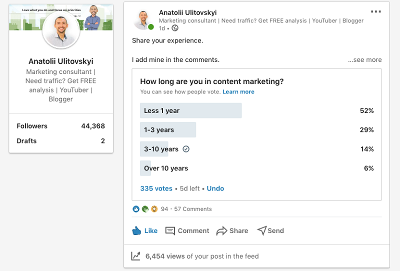 Polls with audience on LinkedIn