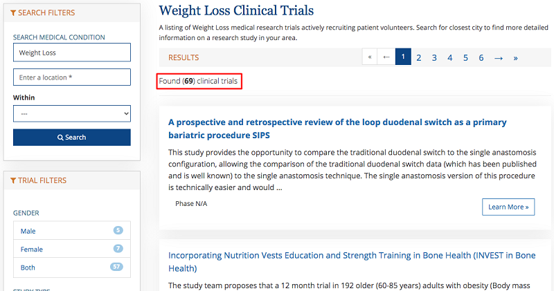 The first website in the top has 69 clinical trials